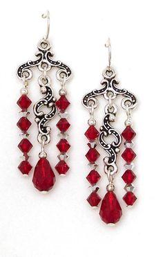 Red black swarovski crystal chandelier earrings 03 04 385 red crystal chandelier earrings keepsake minuet aloadofball Image collections