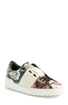 Valentino Print Leather Sneaker (Women) available at #Nordstrom