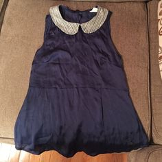 Tommy girl silk blue collared bib top Blue silk tommy girl tweed bib neckline. True to size. Tommy girl Tops Blouses