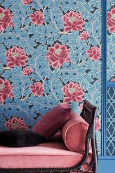 A rich floral tapestry Cole & Sons wallpaper design that captures the wonder and enchantment of a fairy tale forest. Shown here in Cerise & Cerulean Blue on Midnight #brightfloralwallpaper