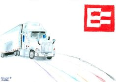Nancy joined us for a day to check out what it's like to work at EROAD - she loves art and design so here's a truck she drew