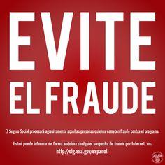 ¡Evite el #fraude! Informe de forma anónima cualquier sospecha de fraude por Internet, en http://oig.ssa.gov/espanol.