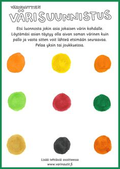 Värisuunnistus luontoretkellä Activities For Kids, Crafts For Kids, Learning Environments, Early Childhood Education, Science Nature, Homeschool, Classroom, Teaching, Education