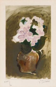poboh: Bouquet de fleurs, 1955-1960, Georges Braque. (1882 -...