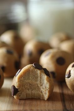 Chocolate Chip Cookie Dough Protein Bites #food #yummy #delicious
