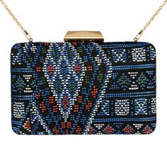 Zapals Designer Box Clutch Ethnic Pattern Woven Hard Case-Blue. Make you be the focus with this Geometric Woven Designer Box Clutch from ZAPALS. A detachable drop-in shoulder chain adds styling versatility to both special and casual occasions!APALS designer box clutch. Geometric woven design. Noble, trendy yet elegant. Detachable shoulder chain. Chic clasp closure. Cross-body bag/ box clutch. Perfect for both special and casual occasions! Such as party, wedding.