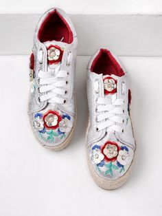 Sneakers by BORNTOWEAR. Rhinestone Detail Flower Decorated Lace Up Trainers