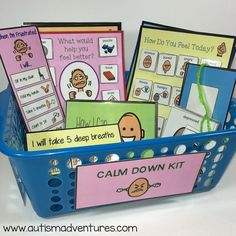 Calm Down Kits in the Classroom Manage classroom behaviors with a calm down kit! Use these visual tools to help students learn to regulate emotions and cope with challenges in an appropriate manner. This is great for students with autism and special need Classroom Behavior Management, Behaviour Management, Autism Classroom, Special Education Classroom, Emotional Support Classroom, Calm Classroom, Coping Skills, Social Skills, Social Issues