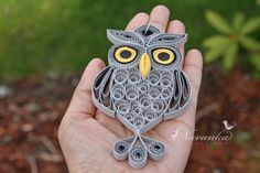 Paper Quilling Owl in a gift box , Gray Paper Quilled Owl, Grey and Yellow Owl…