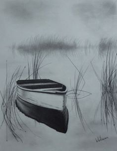 Misty boat on the lake. Pencil drawing by Elena Whitman. Misty boat on the lake. Pencil drawing by Elena Whitman. Misty boat on the lake. Pencil drawing by Elena Wh 3d Pencil Sketches, Pencil Drawings Of Nature, Pencil Drawing Tutorials, Nature Drawing, Pencil Art Drawings, Landscape Drawings, Art Tutorials, Drawing Sketches, Cool Drawings