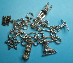"Vintage Sterling ""THINK SNOW"" Theme Charm Bracelet.."