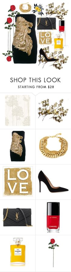 """""""Glamour"""" by sahaja123 ❤ liked on Polyvore featuring Graham & Brown, Balmain, Gianvito Rossi, Hedi Slimane, Chanel and Nearly Natural"""