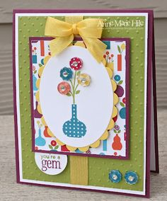 Loved that she used a strip of patterned paper in the inside of the card too.