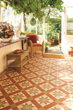 Blenheim is a popular existing pattern, shown here in Green, Red and Buff. Perfect for conservatories, this is a great way of inviting the outside in. This pattern will make a statement in hallways, living rooms, bathrooms, kitchens - wherever it is used! New colours, patterns and shapes means our geometric Victorian style floor tiles look great in traditional and contemporary homes. originalstyle.com
