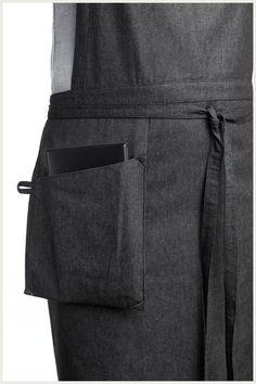 Full Apron for Male servers Shannon Reed - Designer Bib Apron - Hanging Pocket