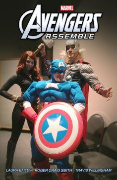 """The cast of """"Marvel's Avengers Assemble,"""" coming to Marvel Universe on Disney XD in 2013, got together for a voice record session yesterday…and since it was Halloween, some of them decided to really get into character!    Laura Bailey (Black Widow), Roger Craig Smith (Captain America) and Travis Willingham (Thor) each showed up to the session dressed as their character"""