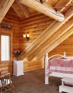 Log home country bedroom