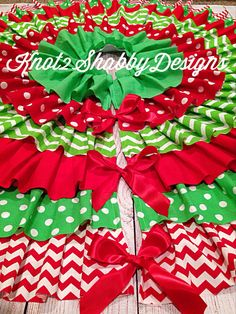 60 Inch Chevron And Polka Dot Lime Green With Red Ruffled Tree Skirt