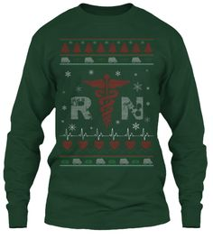 Rn Ugly Christmas Sweater Forest Green Long Sleeve T-Shirt Front