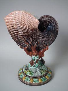 Gustafsberg Majolica Vase with Nautilus Shell and Coral   ID#20449   Madelena