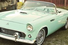 Ford Thunderbird ~ A mint colored convertible Retro Cars, Vintage Cars, Antique Cars, My Dream Car, Dream Cars, Lamborghini, Convertible, Automobile, Roadster