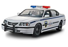 SnapTite® '05 Chevy® Impala™ Police Car 1/25 scale SnapTite plastic model kit from REVELL. Features include police equipment such as molded individual bucket seats up front, a clear partition between the front and rear seats, spotlights and roof mounted emergency lamps and the police version only slotted steel wheels with center caps. Authentic looking Peel 'n Stick police graphics. #85-1928