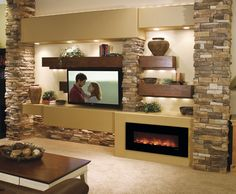 """Modern Flames Fantastic Flame 43"""" fireplace features revolutionary LED flame technology that provides realistic flame with minimum energy consumption. No heat function allows you enjoy beautiful fire ambiance year around. This modern fireplace can be wall mounted or built in for cleaner, contemporary finish. #modernblaze"""