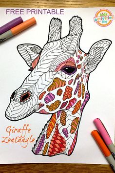 Free printable Giraffe Zentangle coloring page that is perfect for kids or adults! Coloring is so relaxing, and how cute is this adorable giraffe?! We've got tons of free coloring pages for kids in addition to this one!