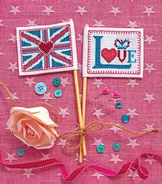Best of British flags, free kit available with issue 305, June 2016 of Cross Stitcher magazine