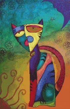 Modern Cross Stitch Kit 'Celestial Cat' By Laura by GeckoRouge #crossstitch
