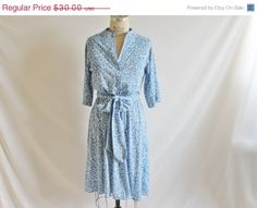 40 Off Sale Vintage 70's Blue Button Dress by perniejaynevintage, $18.00