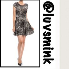 Black And White Abstract Print Dress - Med