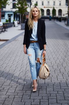 Anouk Yve Is Wearing Blazer And Belt From Zara, Boyfriend Tee From ASOS,  Ripped Jeans From Paige Denim, bag From Mulberry, And The Nude Sho...