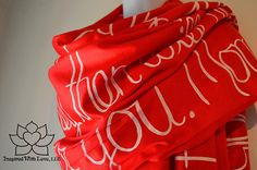 Custom Hand-painted Script Pashmina Red Scarf (Viscose/Acrylic blend) - Made to Order