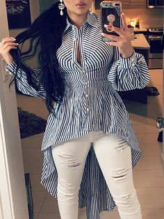 Stripes Lantern Sleeve Dip Hem Blouse We Miss Moda is a leading Women's Clothing Store. Offering the newest Fashion and Trending Styles. Fall Fashion Trends, Autumn Fashion, Mode Outfits, Blouses For Women, Women's Blouses, Ladies Blouses, Ladies Dress Design, Pattern Fashion, Sleeve Styles