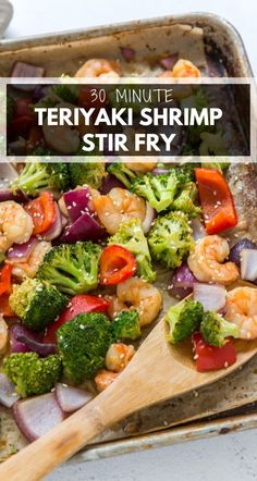 Teriyaki Shrimp Stir Fry is an easy, one pan meal that's ready in 25 minutes. With a simple teriyaki sauce, shrimp, and fresh veggies, this lighter dish is perfect served over rice or noodles! #stirfry #shrimp #shrimpstirfry #teriyaki #teriyakistirfry #sheetpan #sheetpanstirfry #stirfryrecipe #easystirfry #sheetpanrecipe #sheetpandinner