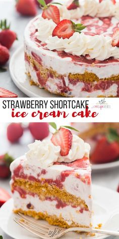 This Strawberry Shortcake Ice Cream Cake is a showstopping strawberry dessert! M… This Strawberry Shortcake Ice Cream Cake is a showstopping strawberry dessert! Made with shortbread cookies, ice cream, and homemade strawberry sauce. Mini Desserts, Ice Cream Desserts, Frozen Desserts, Ice Cream Recipes, Just Desserts, Ice Cream Cakes, Ice Cream Cookie Cake, Frozen Strawberry Desserts, Frozen Treats
