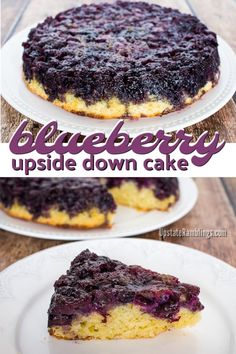 Upside Down Cake - This blueberry dessert is an easy cake to make and is covered with caramelized blueberries.Blueberry Upside Down Cake - This blueberry dessert is an easy cake to make and is covered with caramelized blueberries. Spring Desserts, Easy Desserts, Delicious Desserts, Dessert Recipes, Yummy Food, Easy Blueberry Desserts, Dessert Ideas, Frozen Blueberry Recipes, Blackberry Recipes