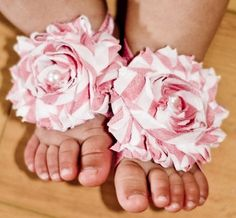 Baby Pink & White Barefoot Flower Sandals-pink and white, flower sandals, shoes, newborn, infant, baby girl, boutique, summer, spring