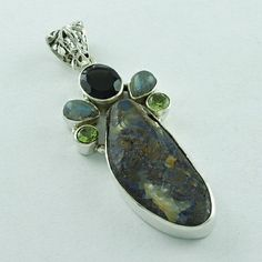 NATURAL MULTI STONE 925 SOLID STERLING SILVER  PENDANT _ SILVEX IMAGES INDIA #SilvexImagesIndiaPvtLtd #Pendant