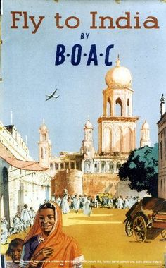 Fly to India by BOAC - circa 1950 vintage poster
