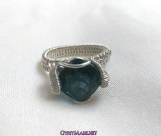 London Blue Topaz Sterling Silver Ring, Gypsy Boho Engagement Ring, 7 carat Engagement Ring