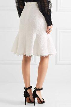 Oscar de la Renta - Fluted Lace-trimmed Cotton-blend Cloqué Skirt - White - US