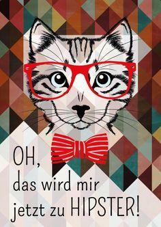 Hipster-Katze   Humor   Echte Postkarten online versenden   MyPostcard.com