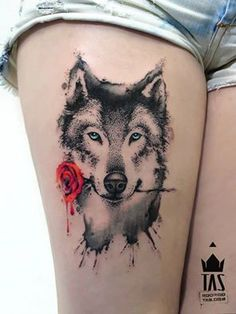Wolf + Rose Tattoo