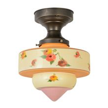 Flush Fixture W/Lovely  Hand-Painted Shade, C1930