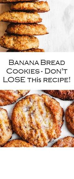 Banana Bread Cookies - Don't LOSE thіѕ recipe! #Cake #Recipe #Yummy Easy Vanilla Cake Recipe, Chocolate Cake Recipe Easy, Chocolate Chip Recipes, Banana Recipes, Dog Recipes, Bread Recipes, Easy Recipes, Cooking Recipes, Banana Bread Almond Flour