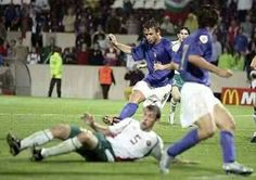 Italy 2 Bulgaria 1 in 2004 in Guimaraes. Antonio Cassano scores the winner on 94 mins in Group D at Euro 2004.