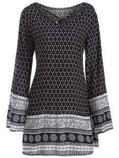 Long Sleeve Indian Print Dress - BLACK M