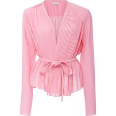 Carven     Peplum Wrap Blouse ($590) ❤ liked on Polyvore featuring tops, blouses, light pink, wrap blouse, pink peplum top, wrap top, carven top and pink blouse